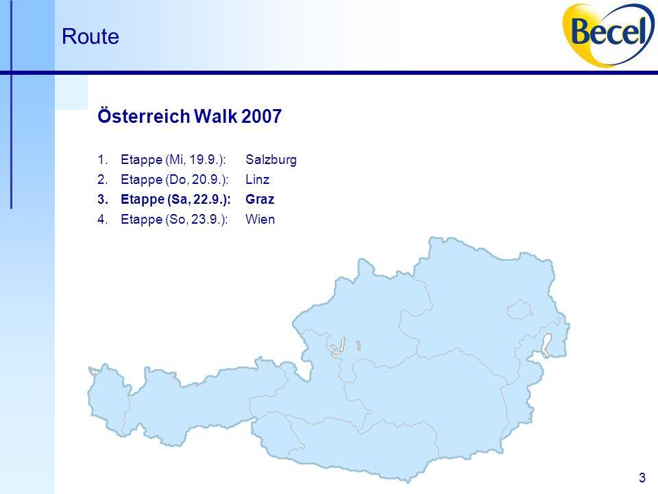 3 Linz Wien Route Österreich Walk 2007 1.Etappe (Mi, 19.9.):Salzburg 2.Etappe (Do, 20.9.):Linz 3.Etappe (Sa, 22.9.):Graz 4.Etappe (So, 23.9.):Wien Salzburg Graz
