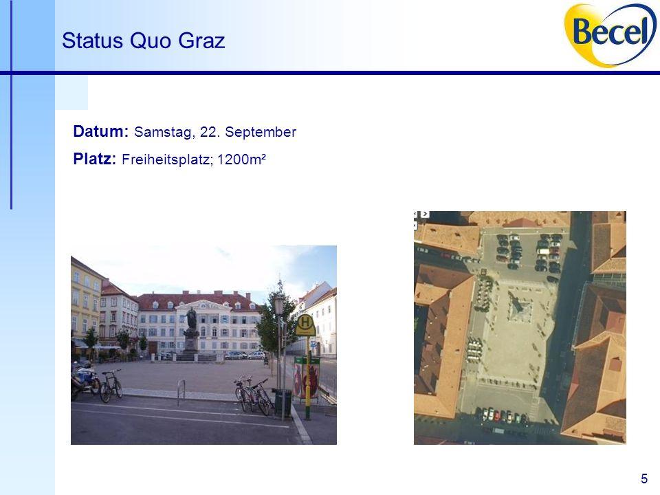 6 Status Quo Graz Start / Ziel A B E S St / SA P O I Eingang A – Anmeldung B – Becel I - Intersport O – Omron E – Exel S – Suunto St – Stadt SA – sanofi-aventis Änderungen vorbehalten