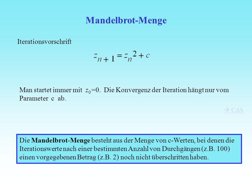 Mandelbrot-Menge Iterationsvorschrift Man startet immer mit z 0 =0. Die Konvergenz der Iteration hängt nur vom Parameter c ab. CAS Die Mandelbrot-Meng