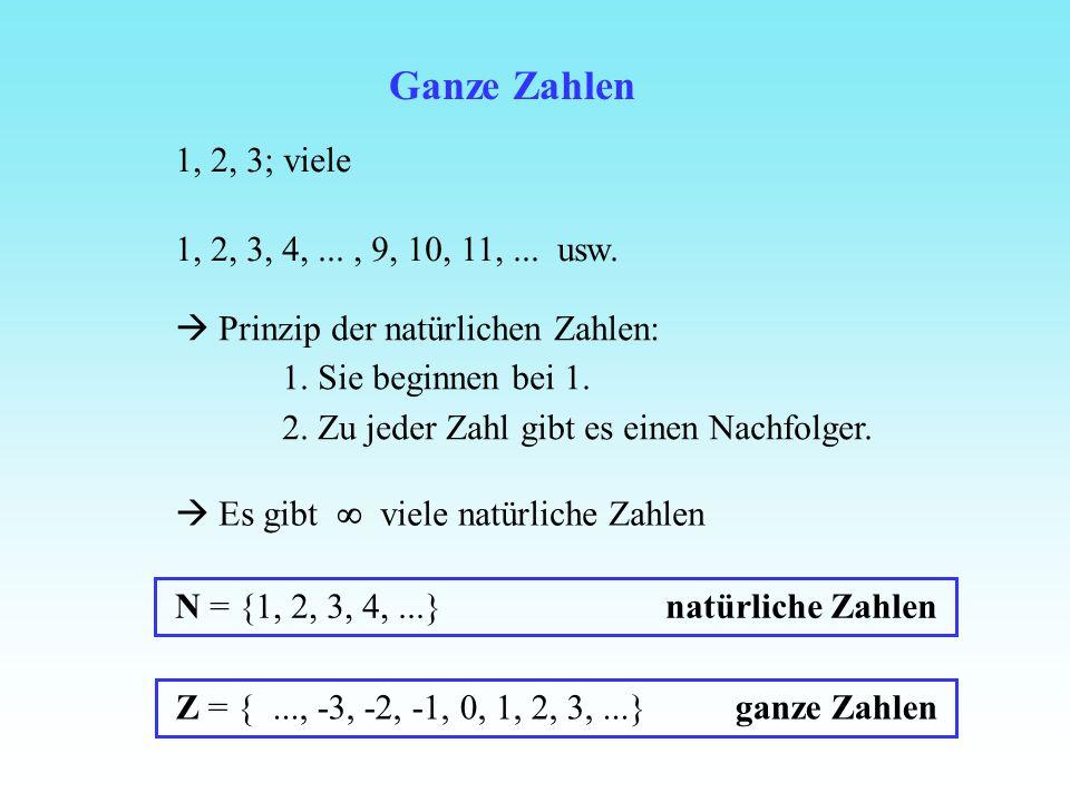 Ganze Zahlen 1, 2, 3; viele 1, 2, 3, 4,..., 9, 10, 11,... usw. Prinzip der natürlichen Zahlen: 1. Sie beginnen bei 1. 2. Zu jeder Zahl gibt es einen N