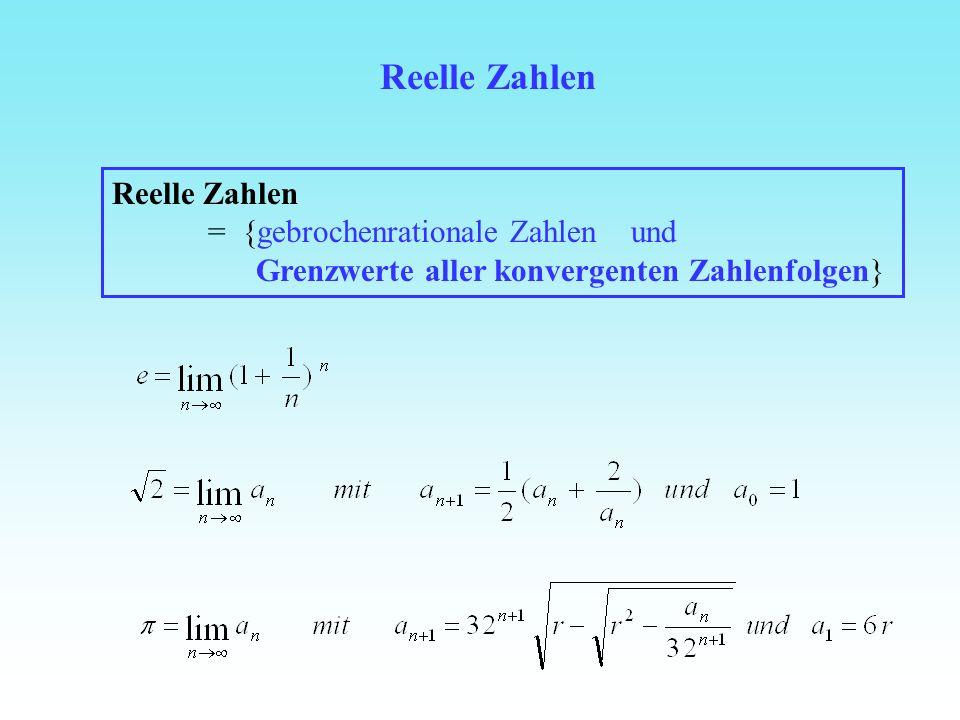 Reelle Zahlen Reelle Zahlen = {gebrochenrationale Zahlen und Grenzwerte aller konvergenten Zahlenfolgen}