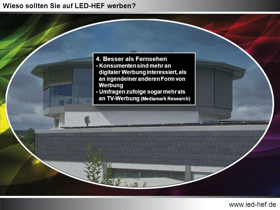 www.led-hef.de Wieso sollten Sie auf LED-HEF werben? 4. Besser als Fernsehen - Konsumenten sind mehr an digitaler Werbung interessiert, als an irgende