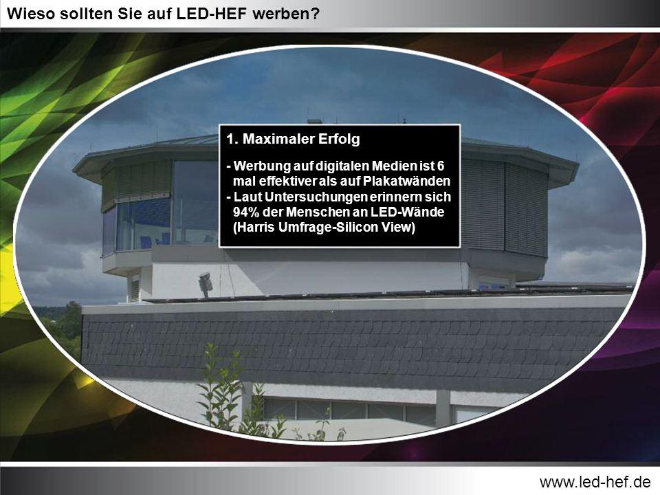 www.led-hef.de Wieso sollten Sie auf LED-HEF werben? 1. Maximaler Erfolg - Werbung auf digitalen Medien ist 6 mal effektiver als auf Plakatwänden - La
