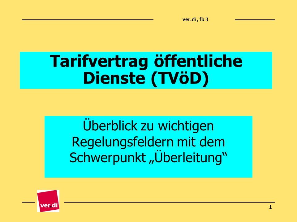 ver.di, fb 3 1 Tarifvertrag öffentliche Dienste (TVöD) Überblick zu wichtigen Regelungsfeldern mit dem Schwerpunkt Überleitung