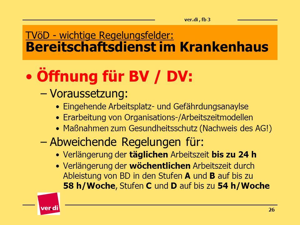 ver.di, fb 3 26 TVöD - wichtige Regelungsfelder: Bereitschaftsdienst im Krankenhaus Öffnung für BV / DV: –Voraussetzung: Eingehende Arbeitsplatz- und