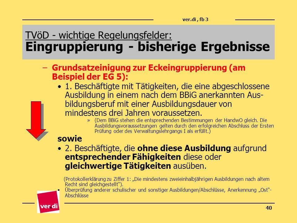 ver.di, fb 3 40 –Grundsatzeinigung zur Eckeingruppierung (am Beispiel der EG 5): 1. Beschäftigte mit Tätigkeiten, die eine abgeschlossene Ausbildung i