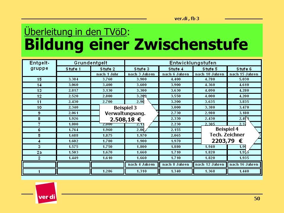 ver.di, fb 3 50 Überleitung in den TVöD: Bildung einer Zwischenstufe Beispiel 3 Verwaltungsang. 2.508,18 Beispiel 4 Tech. Zeichner 2203,79