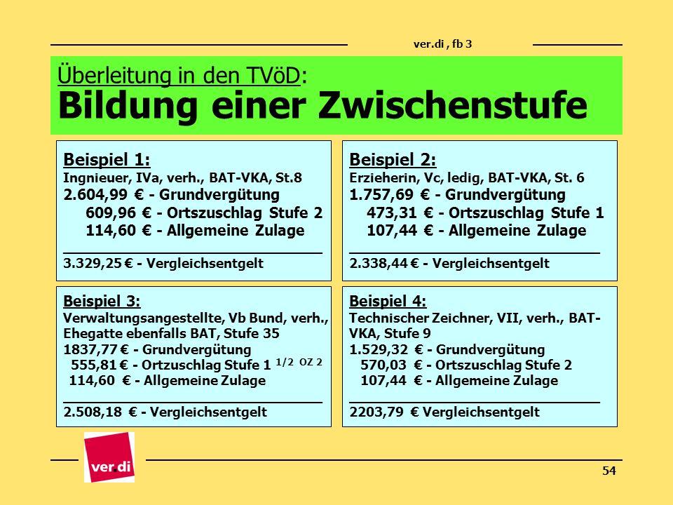 ver.di, fb 3 54 Überleitung in den TVöD: Bildung einer Zwischenstufe Beispiel 1: Ingnieuer, IVa, verh., BAT-VKA, St.8 2.604,99 - Grundvergütung 609,96