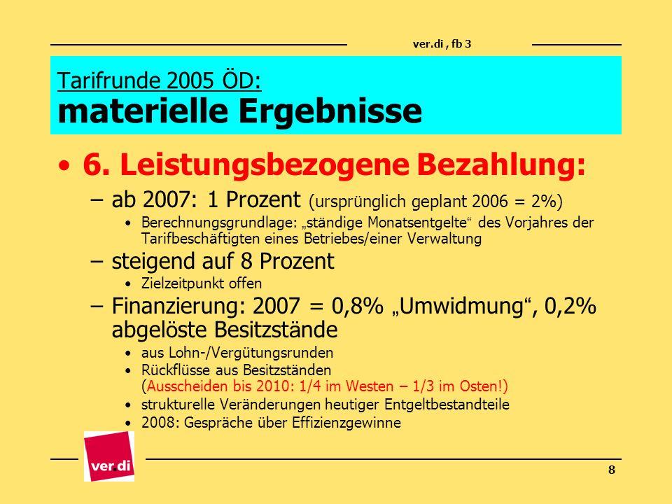 ver.di, fb 3 8 Tarifrunde 2005 ÖD: materielle Ergebnisse 6. Leistungsbezogene Bezahlung: –ab 2007: 1 Prozent (urspr ü nglich geplant 2006 = 2%) Berech