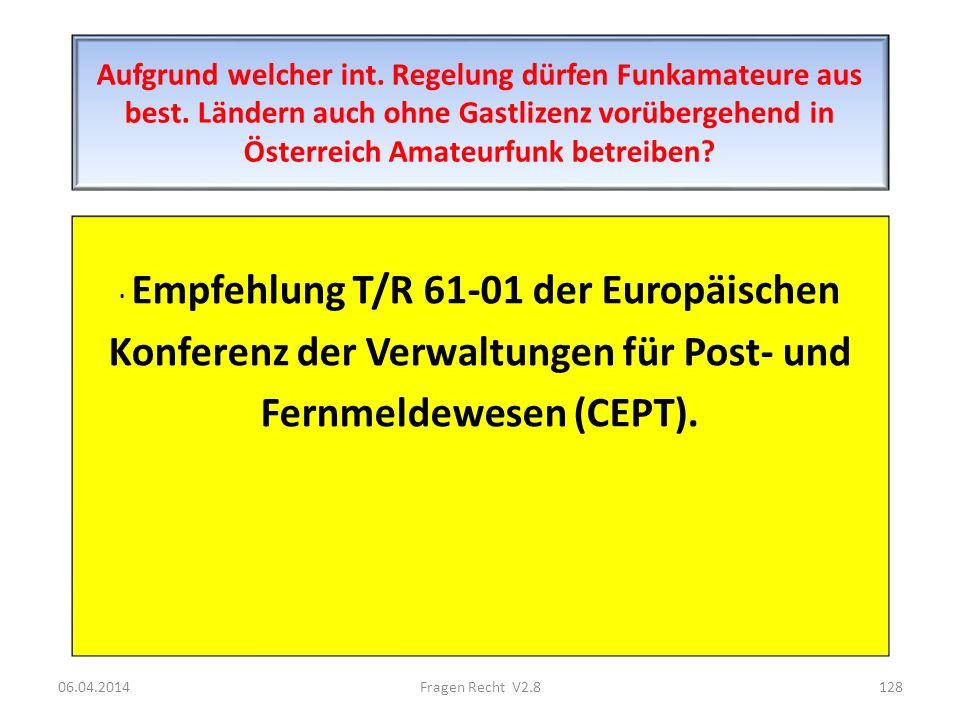 Aufgrund welcher int. Regelung dürfen Funkamateure aus best. Ländern auch ohne Gastlizenz vorübergehend in Österreich Amateurfunk betreiben? · Empfehl