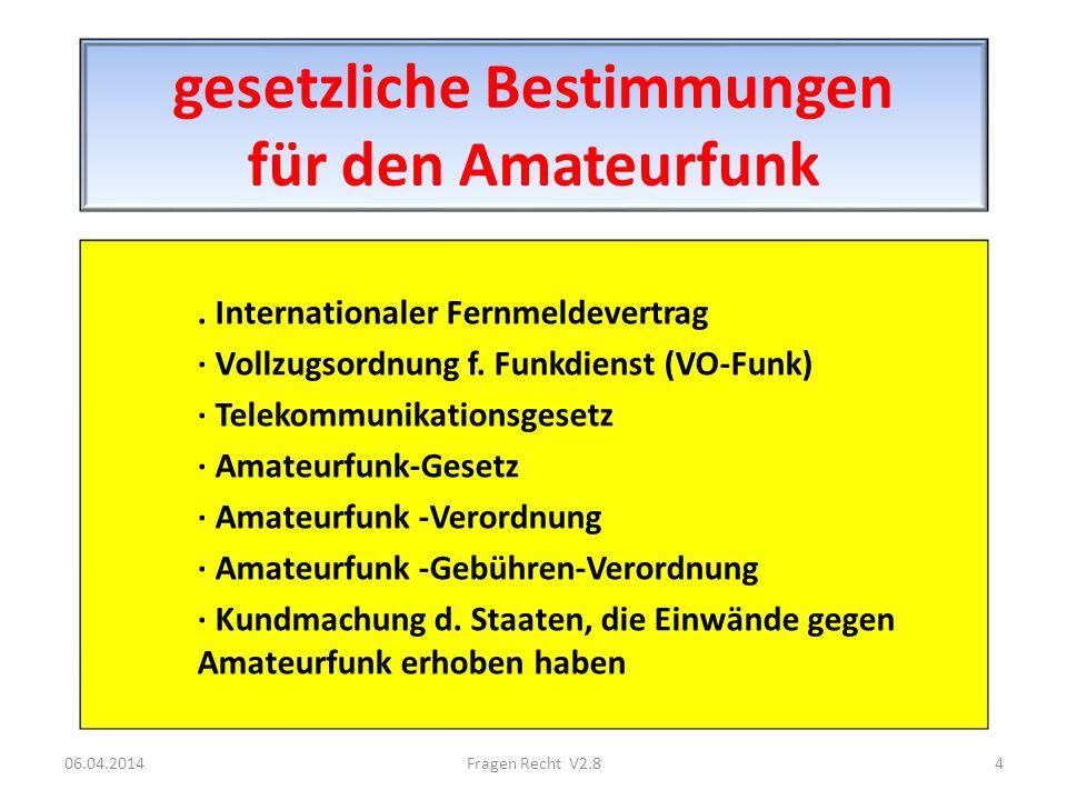 gesetzliche Bestimmungen für den Amateurfunk. Internationaler Fernmeldevertrag · Vollzugsordnung f. Funkdienst (VO-Funk) · Telekommunikationsgesetz ·