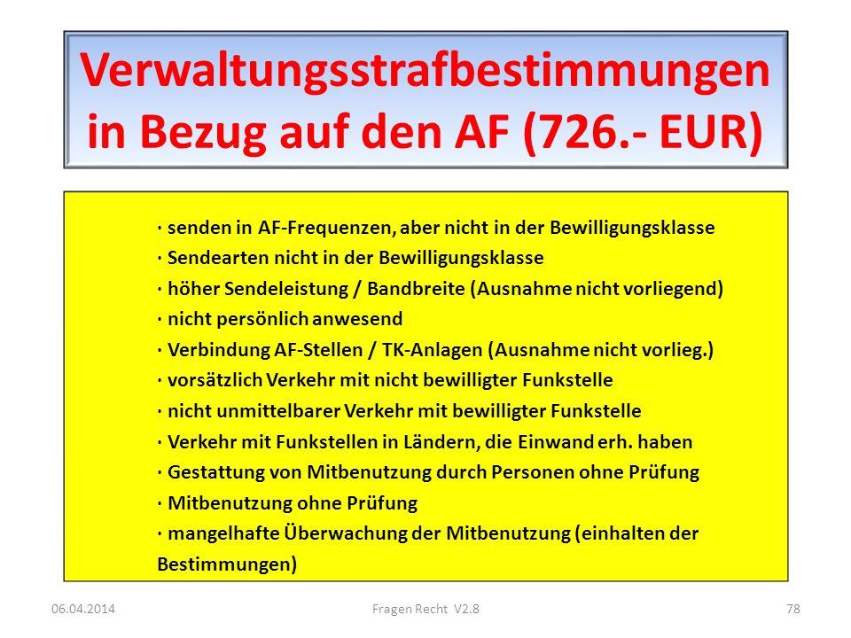 Verwaltungsstrafbestimmungen in Bezug auf den AF (726.- EUR) · senden in AF-Frequenzen, aber nicht in der Bewilligungsklasse · Sendearten nicht in der