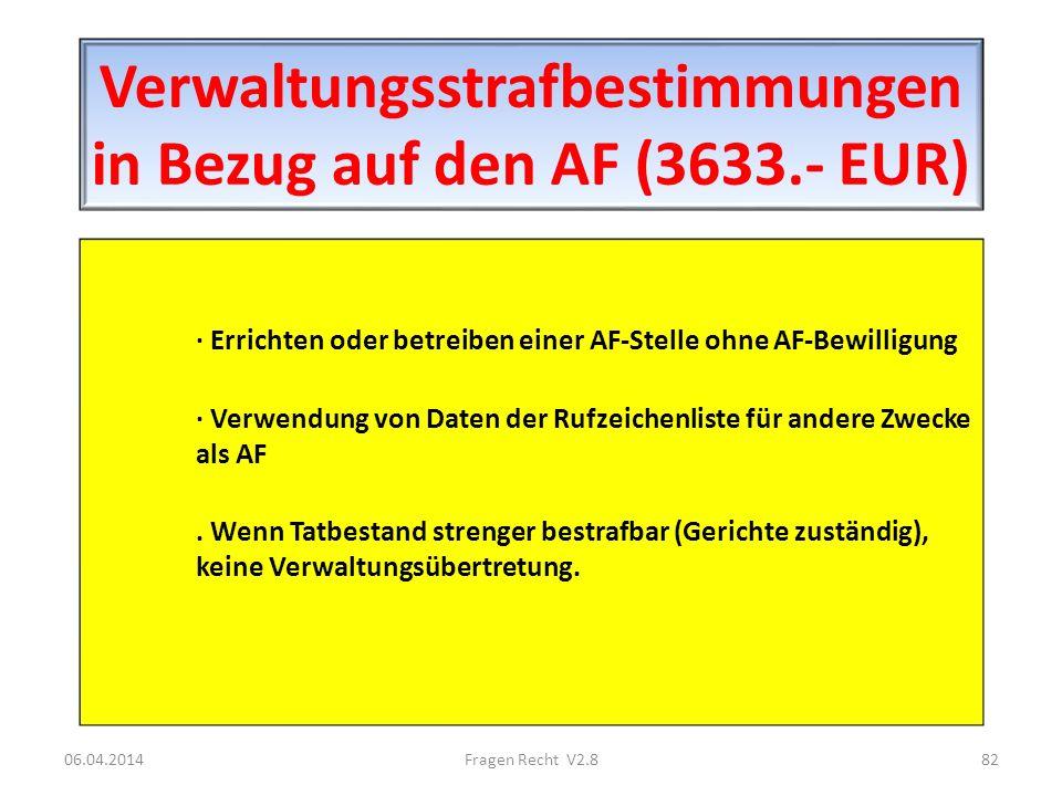 Verwaltungsstrafbestimmungen in Bezug auf den AF (3633.- EUR) · Errichten oder betreiben einer AF-Stelle ohne AF-Bewilligung · Verwendung von Daten de