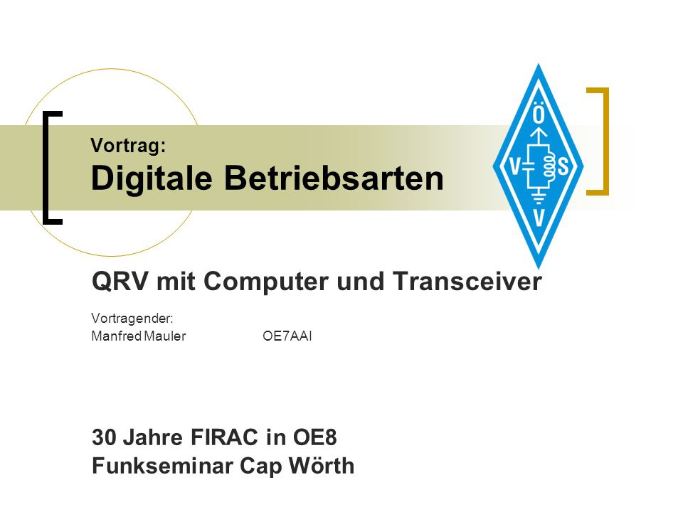 9.9.2011Vortrag OE7AAI - Digitale Betriebsarten – 30 Jahre FIRAC in OE841 Digitale Betriebsarten Linksammlungen: http://www.muenster.de/~welp/sb.htm http://www.ok2pya.wz.cz/view.php?cisloclanku=2005122201 http://www.dxzone.com/catalog/Operating_Modes/ http://wiki.oevsv.at/index.php/Kategorie:Digitale_Betriebsarten Funkamateur USB Transceiver Interface: http://www.box73.de/catalog/product_info.php?cPath=112_113_133&pr oducts_id=1488&osCsid=g7r8sgrkt80e8p8olm69lq2ob5