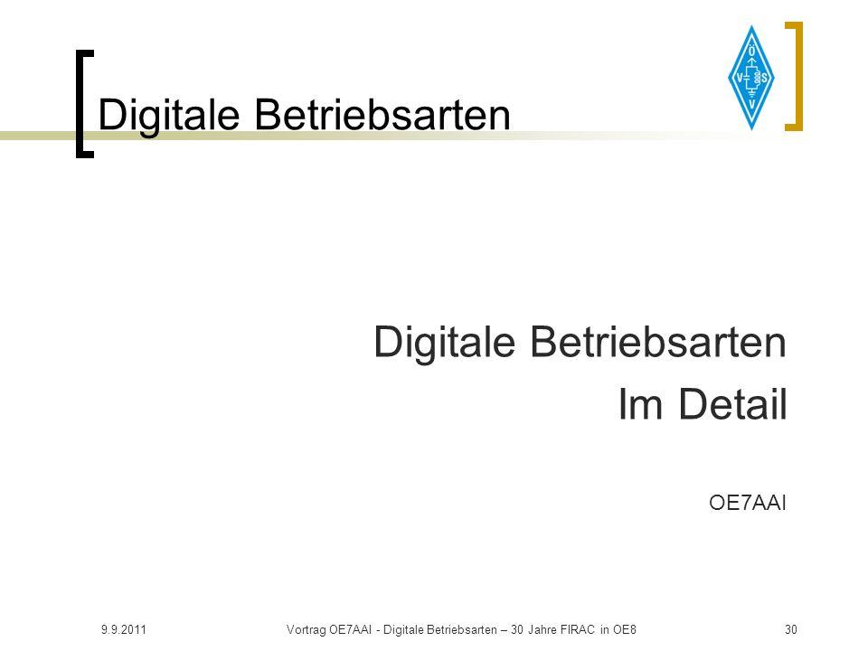 9.9.2011Vortrag OE7AAI - Digitale Betriebsarten – 30 Jahre FIRAC in OE829 Digitale Betriebsarten Praktischer Teil: Betriebsarten im Detail Installatio
