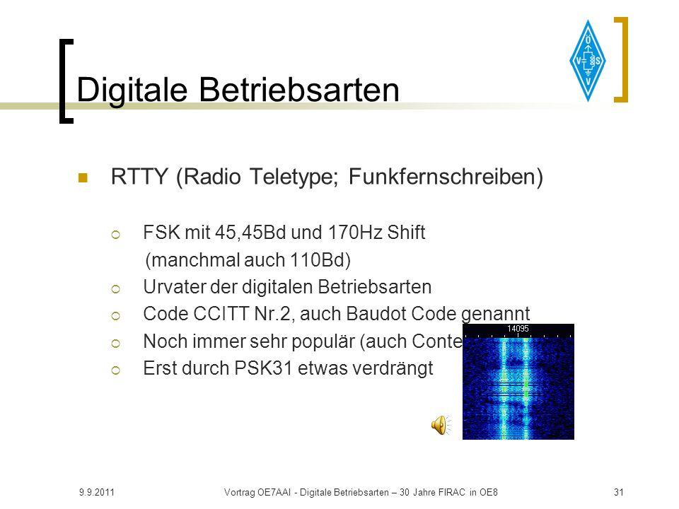9.9.2011Vortrag OE7AAI - Digitale Betriebsarten – 30 Jahre FIRAC in OE830 Digitale Betriebsarten Im Detail OE7AAI