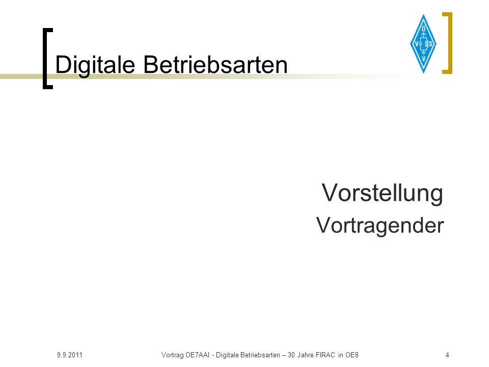 9.9.2011Vortrag OE7AAI - Digitale Betriebsarten – 30 Jahre FIRAC in OE84 Digitale Betriebsarten Vorstellung Vortragender
