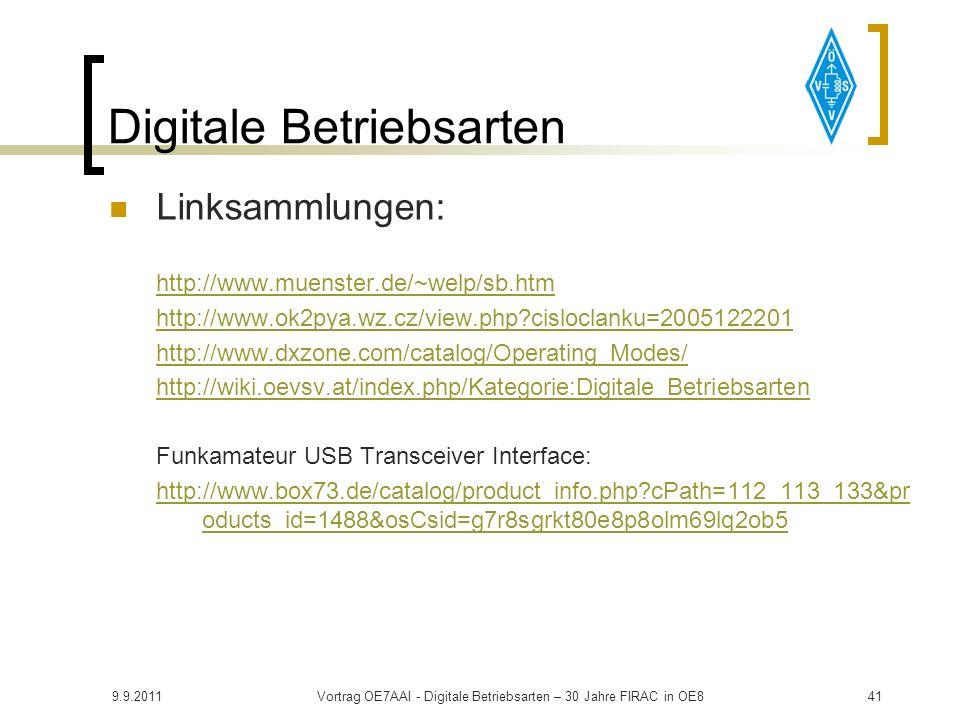 9.9.2011Vortrag OE7AAI - Digitale Betriebsarten – 30 Jahre FIRAC in OE840 Links PSK31:http://aintel.bi.ehu.es/psk31.htmlhttp://aintel.bi.ehu.es/psk31.