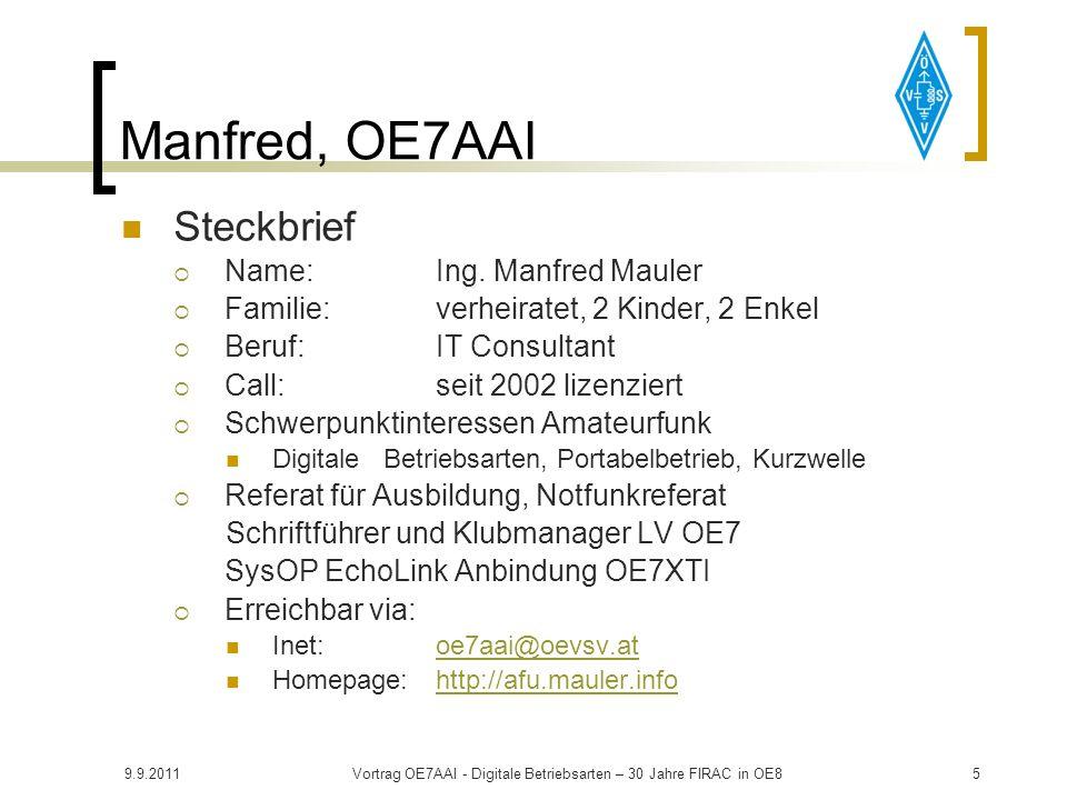 9.9.2011Vortrag OE7AAI - Digitale Betriebsarten – 30 Jahre FIRAC in OE815 Überblick Komponenten für Digimodes: