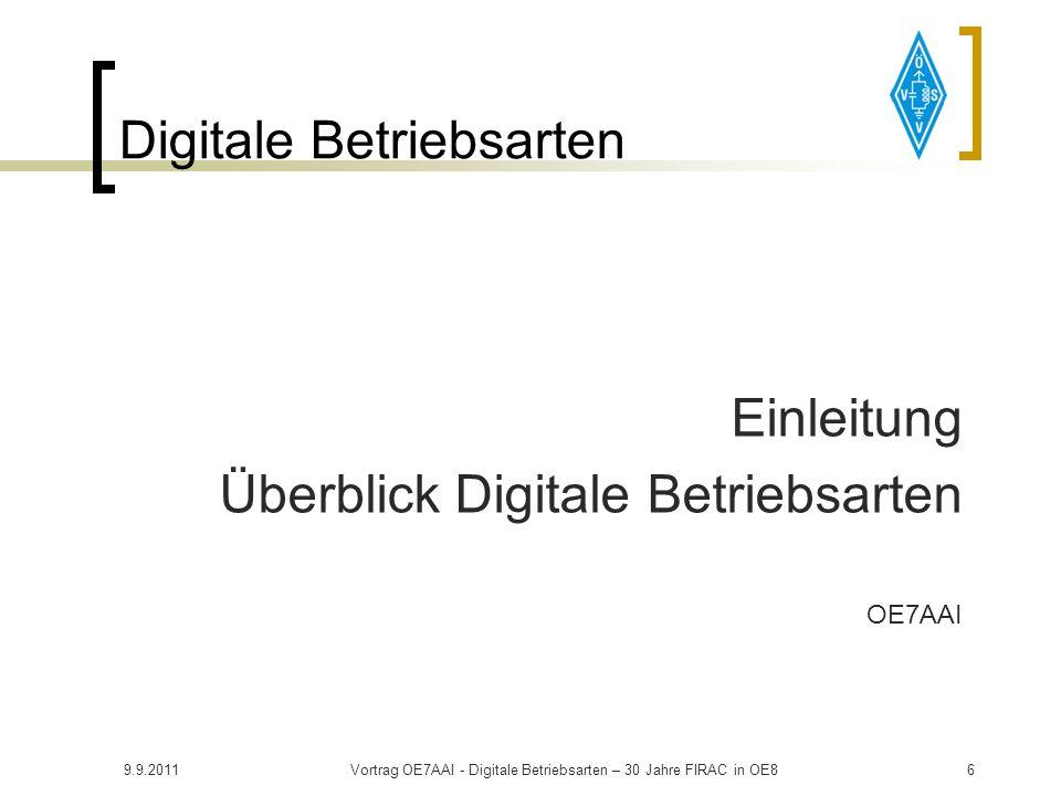 9.9.2011Vortrag OE7AAI - Digitale Betriebsarten – 30 Jahre FIRAC in OE836 Digitale Betriebsarten OLIVIA MixW Einstellungen