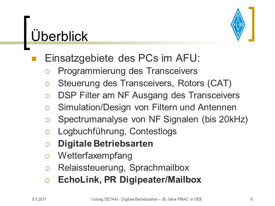 9.9.2011Vortrag OE7AAI - Digitale Betriebsarten – 30 Jahre FIRAC in OE818 Überblick Anforderungen an den Transceiver NF Ein-/Ausgang über eigene Buchse empfehlenswert Stabiler Oszillator DSP (Sprach-Prozessor) abgeschaltet USB Einstellung Fernsteuerung über CAT, RS232, CI-V 500Hz Filter u.U.