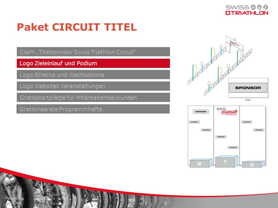 Paket CIRCUIT TITEL Claim Titelsponsor Swiss Triathlon Circuit Logo Zieleinlauf und Podium Logo Websites Veranstaltungen Gratisstartplätze für Mitarbeitende/Kunden Gratisinserate Programmhefte Logo Strecke und Wechselzone