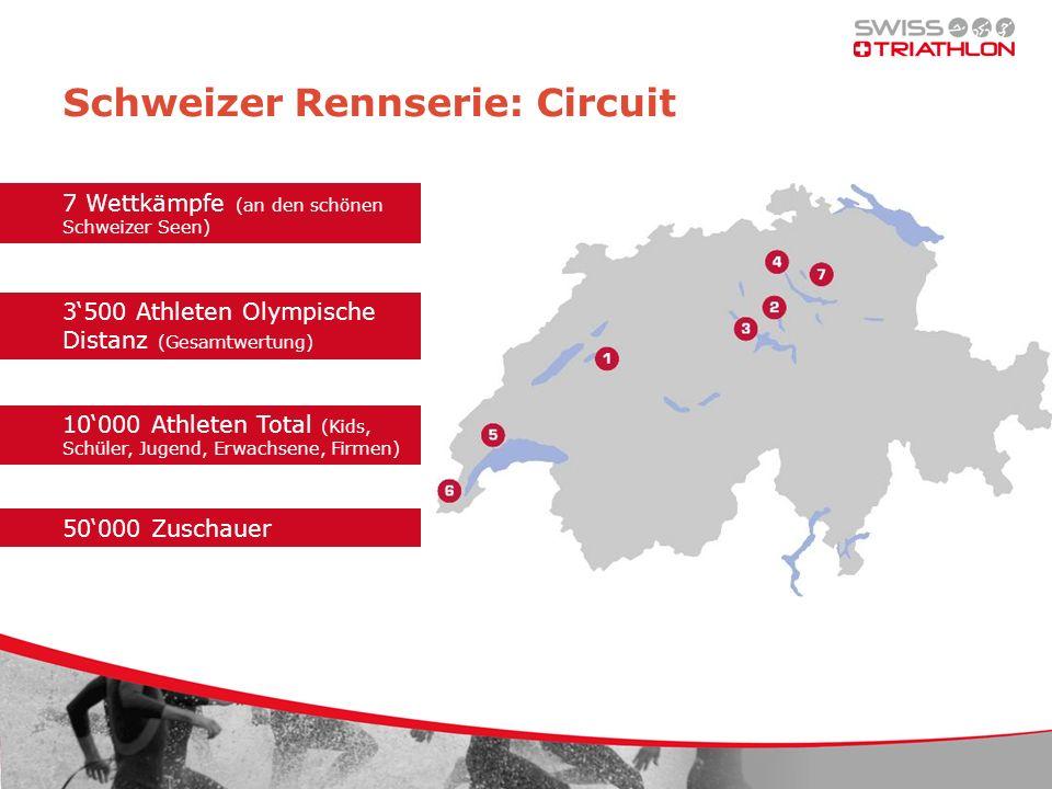 Paket CIRCUIT TITEL Claim Titelsponsor Swiss Triathlon Circuit Logo Zieleinlauf und Podium Logo Websites Veranstaltungen Gratisstartplätze für Mitarbeitende/Kunden + Gratisinserate Programmhefte Logo Strecke und Wechselzone
