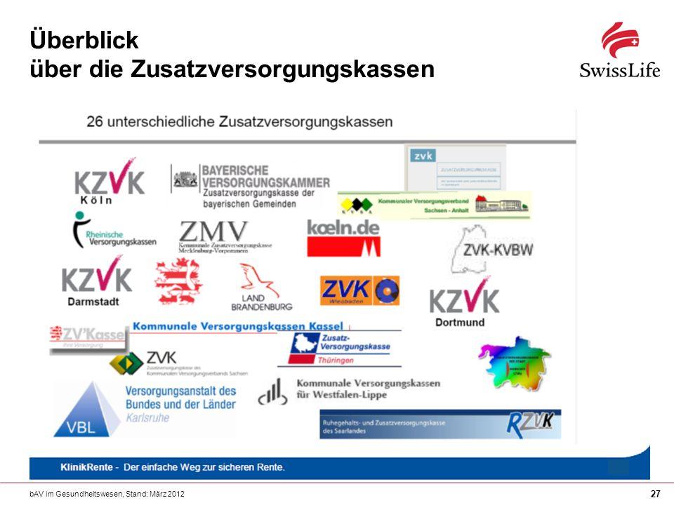 bAV im Gesundheitswesen, Stand: März 2012 27 Überblick über die Zusatzversorgungskassen