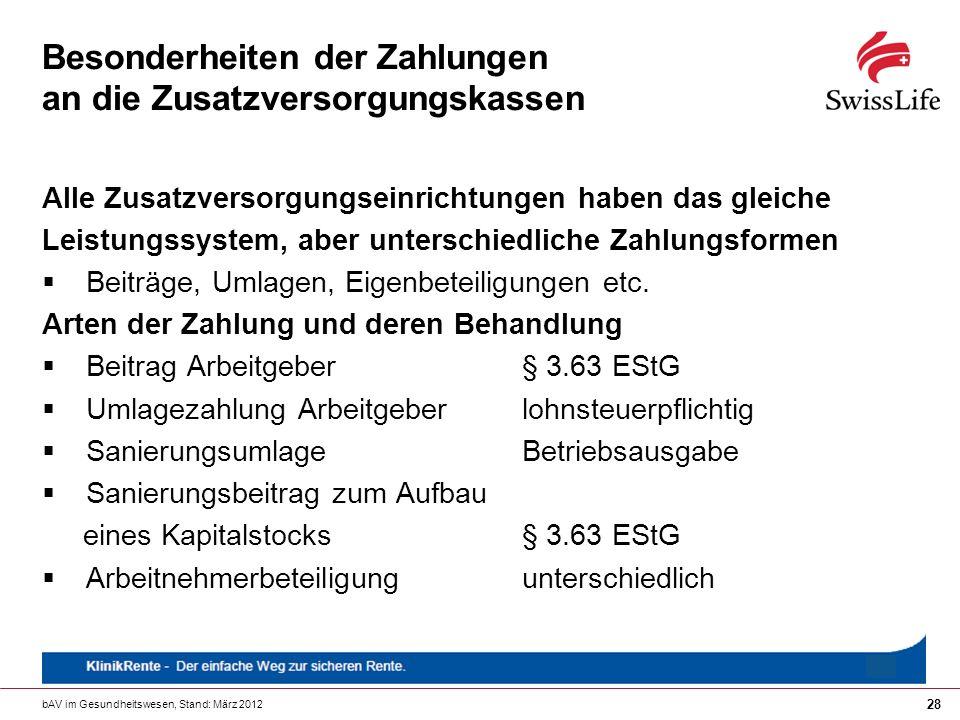 bAV im Gesundheitswesen, Stand: März 2012 28 Besonderheiten der Zahlungen an die Zusatzversorgungskassen Alle Zusatzversorgungseinrichtungen haben das