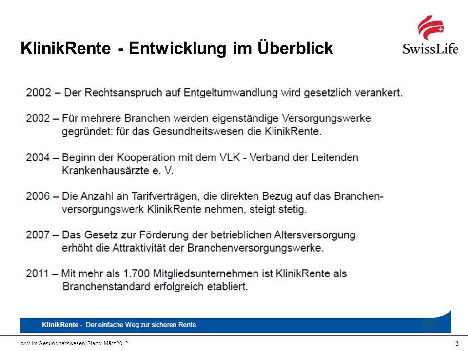 bAV im Gesundheitswesen, Stand: März 2012 14 KlinikRente – Attraktives Potenzial.