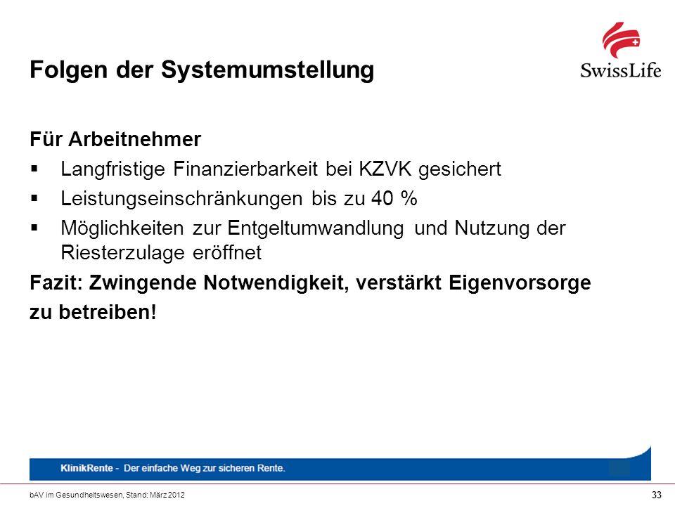 bAV im Gesundheitswesen, Stand: März 2012 33 Folgen der Systemumstellung Für Arbeitnehmer Langfristige Finanzierbarkeit bei KZVK gesichert Leistungsei