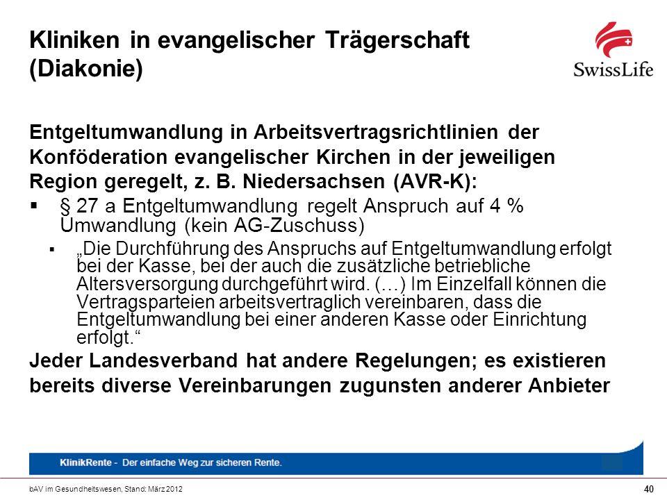 bAV im Gesundheitswesen, Stand: März 2012 40 Kliniken in evangelischer Trägerschaft (Diakonie) Entgeltumwandlung in Arbeitsvertragsrichtlinien der Kon