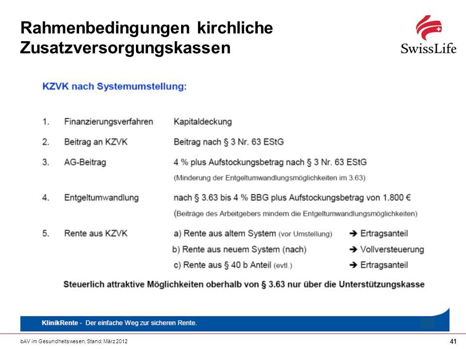 bAV im Gesundheitswesen, Stand: März 2012 41 Rahmenbedingungen kirchliche Zusatzversorgungskassen