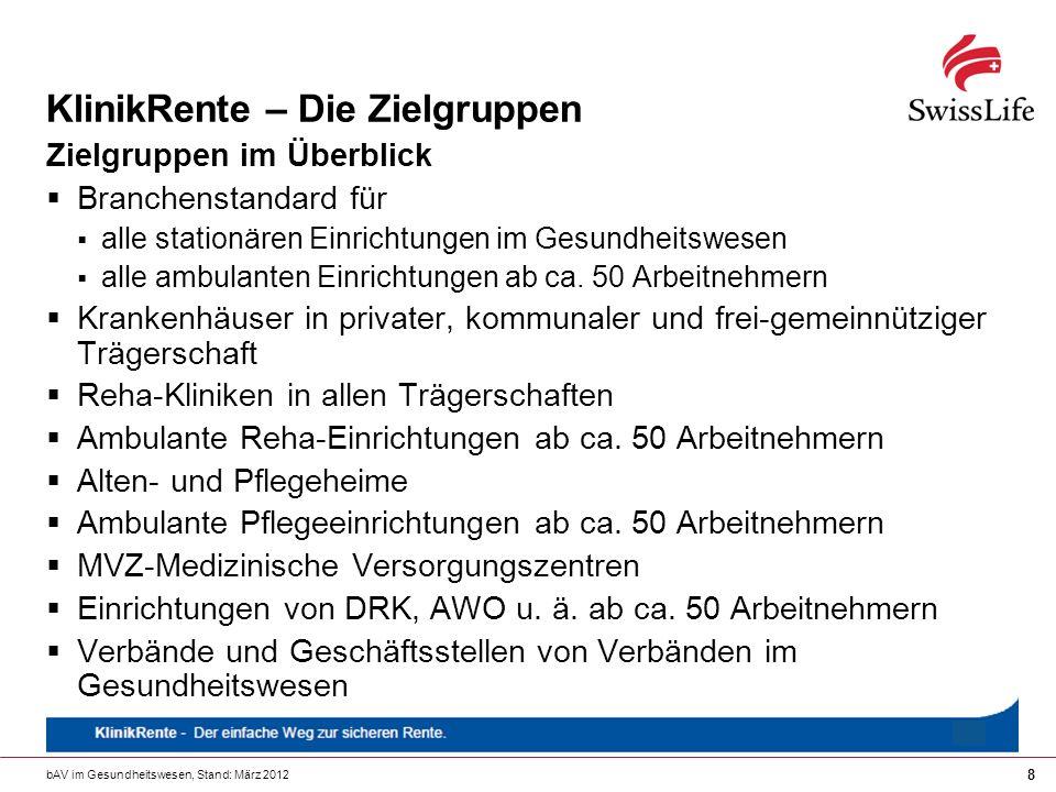 bAV im Gesundheitswesen, Stand: März 2012 19 KlinikRente – Attraktives Potenzial.