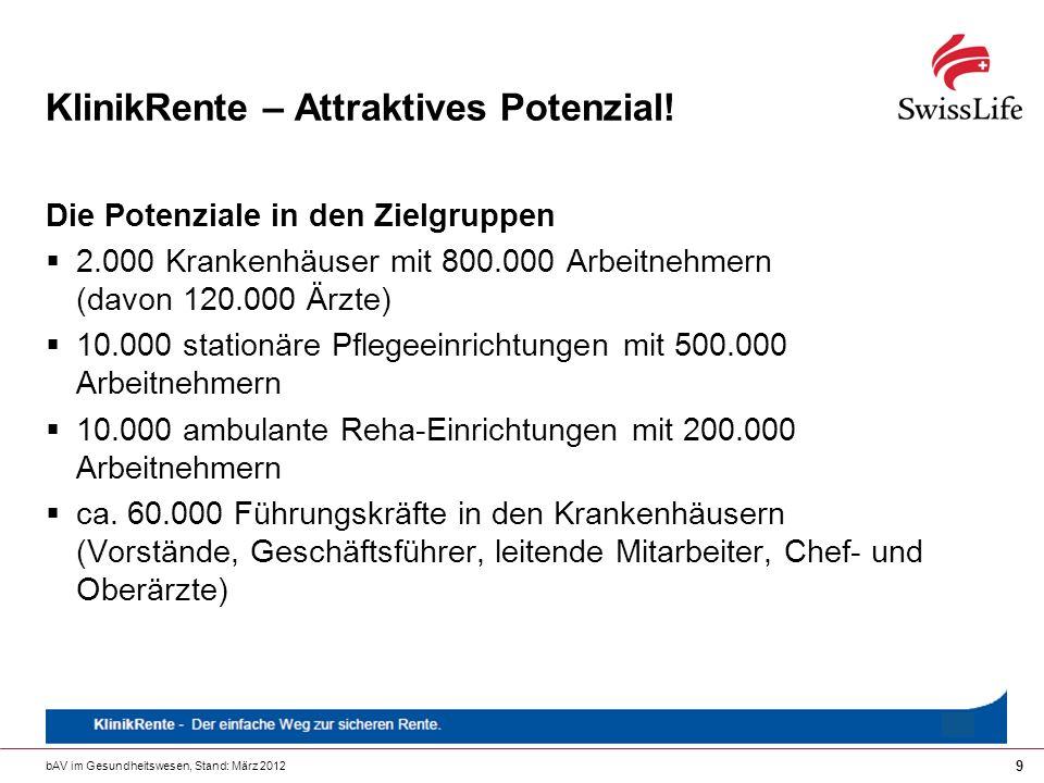 bAV im Gesundheitswesen, Stand: März 2012 9 KlinikRente – Attraktives Potenzial! Die Potenziale in den Zielgruppen 2.000 Krankenhäuser mit 800.000 Arb