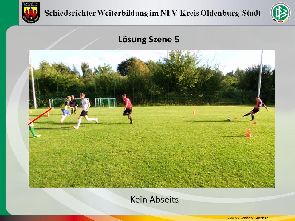 Sascha Schnor- Lehrstab Schiedsrichter Weiterbildung im NFV-Kreis Oldenburg-Stadt Lösung Szene 5 Kein Abseits