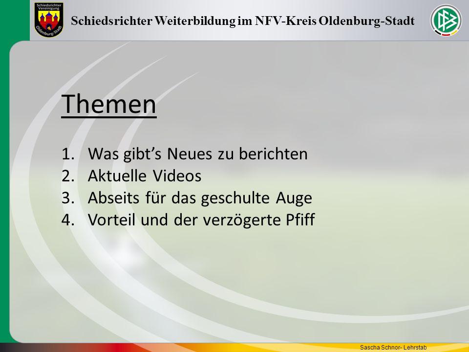 Regelfragen zum Thema Sascha Schnor- Lehrstab Schiedsrichter Weiterbildung im NFV-Kreis Oldenburg-Stadt 1) Ein Angreifer läuft frei auf das gegnerische Tor zu und hat nur noch den Torwart vor sich.