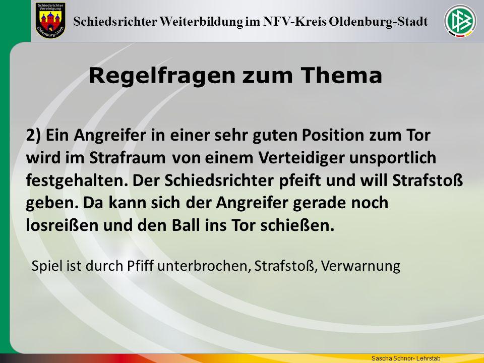 Regelfragen zum Thema Sascha Schnor- Lehrstab Schiedsrichter Weiterbildung im NFV-Kreis Oldenburg-Stadt 2) Ein Angreifer in einer sehr guten Position