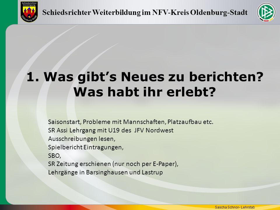 Gruppenarbeit Sascha Schnor- Lehrstab Schiedsrichter Weiterbildung im NFV-Kreis Oldenburg-Stadt Bitte vervollständigt die Tabelle auf dem ausgeteilten Papier.