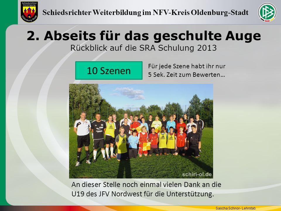 2. Abseits für das geschulte Auge Rückblick auf die SRA Schulung 2013 Sascha Schnor- Lehrstab Schiedsrichter Weiterbildung im NFV-Kreis Oldenburg-Stad