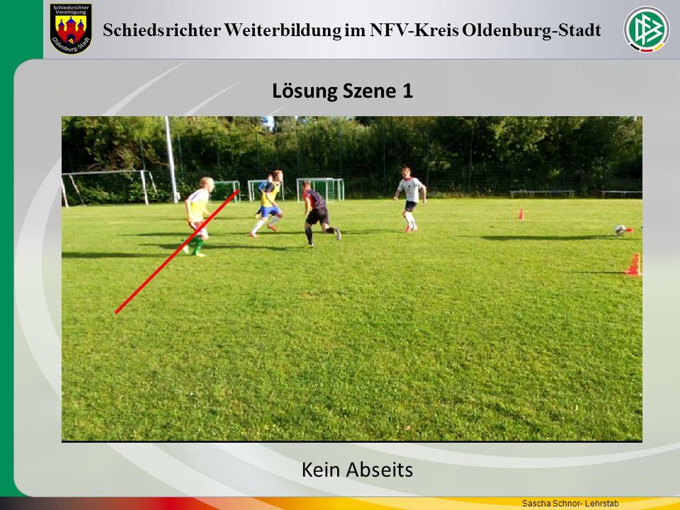 Sascha Schnor- Lehrstab Schiedsrichter Weiterbildung im NFV-Kreis Oldenburg-Stadt Lösung Szene 1 Kein Abseits