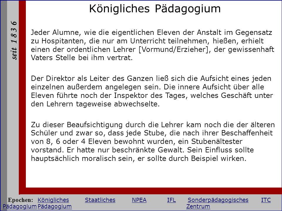 seit 1 8 3 6 Institut für Lehrerbildung Putbus Diesterweg-Institut 1946 - 1975 Epochen: KöniglichesStaatlichesNPEAIFLSonderpädagogischesITC PädagogiumPädagogium Zentrum KöniglichesStaatlichesNPEAIFLSonderpädagogischesITC Pädagogium Zentrum