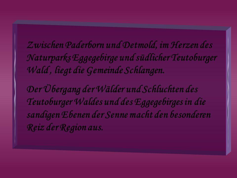 Zwischen Paderborn und Detmold, im Herzen des Naturparks Eggegebirge und südlicher Teutoburger Wald, liegt die Gemeinde Schlangen. Der Übergang der Wä