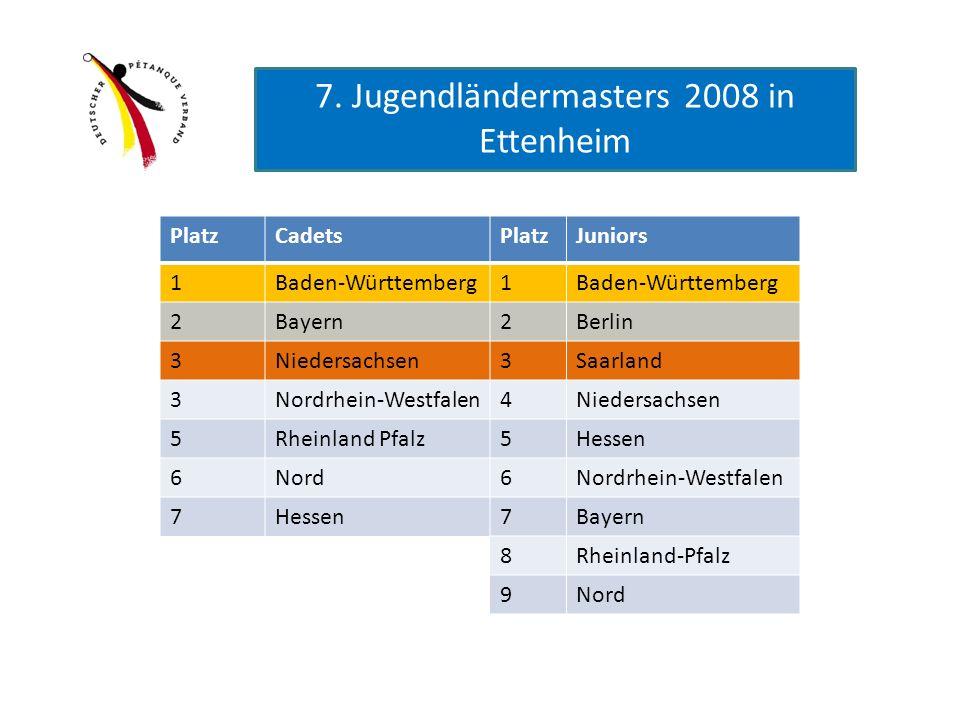 PlatzCadetsPlatzJuniors 1Baden-Württemberg1 2Bayern2Berlin 3Niedersachsen3Saarland 3Nordrhein-Westfalen4Niedersachsen 5Rheinland Pfalz5Hessen 6Nord6No
