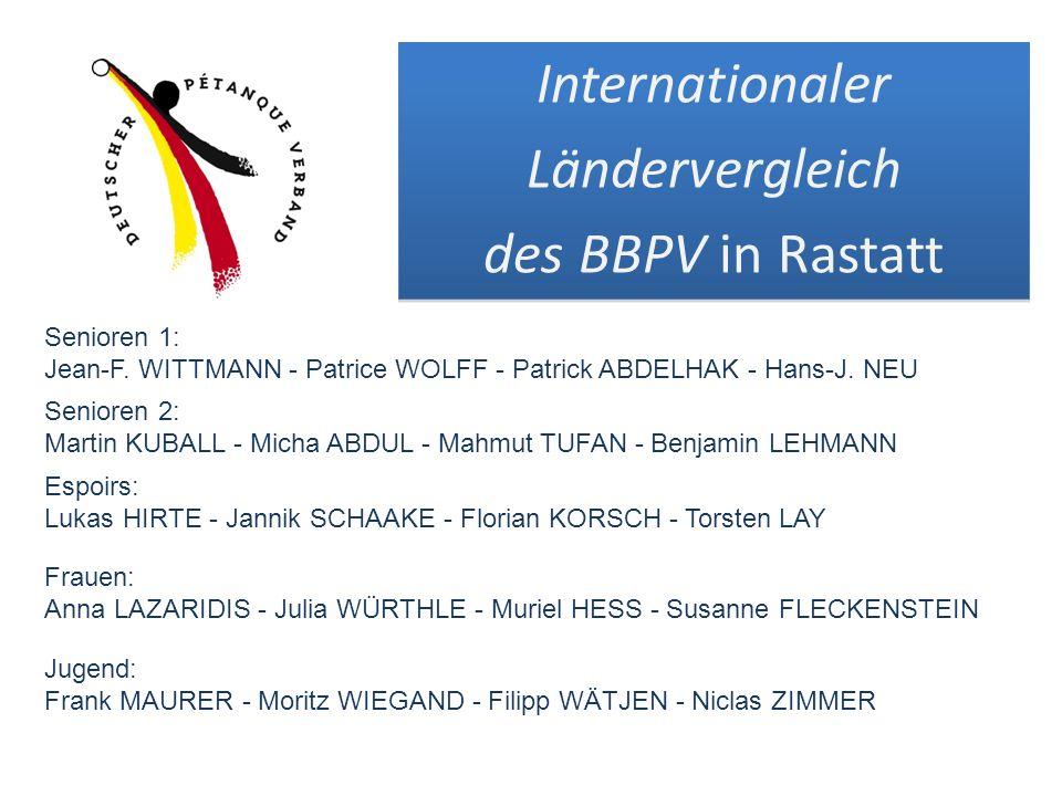 Patrick ABDELHAK Florian KORSCH Torsten LAY Benjamin LEHMANN Benjamin LEHMANN Triplette Präzisionsschießen Im Stechen der Repechage (gegen Weibel / Belgien) ausgeschieden 9.