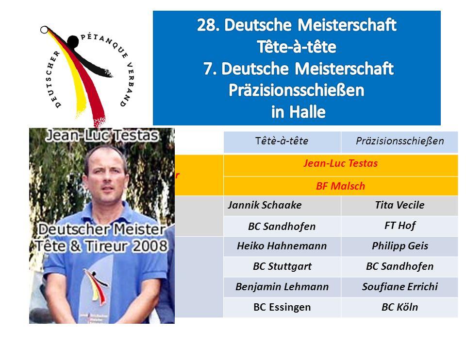 Têtè-à-têtePräzisionsschießen Deutsche Meister Jean-Luc Testas BF Malsch Vize Meister Jannik SchaakeTita Vecile BC Sandhofen FT Hof Platz 3 Heiko Hahn