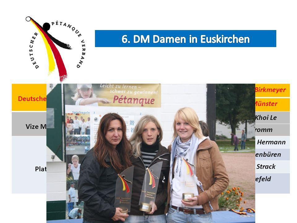 Deutsche Meister Daniela ThelenIlda BrahmCarolin Birkmeyer CPI EssenTV LangenKfK Münster Vize Meister Nicole SchulzNatascha Sieling Van Khoi Le BC Tro