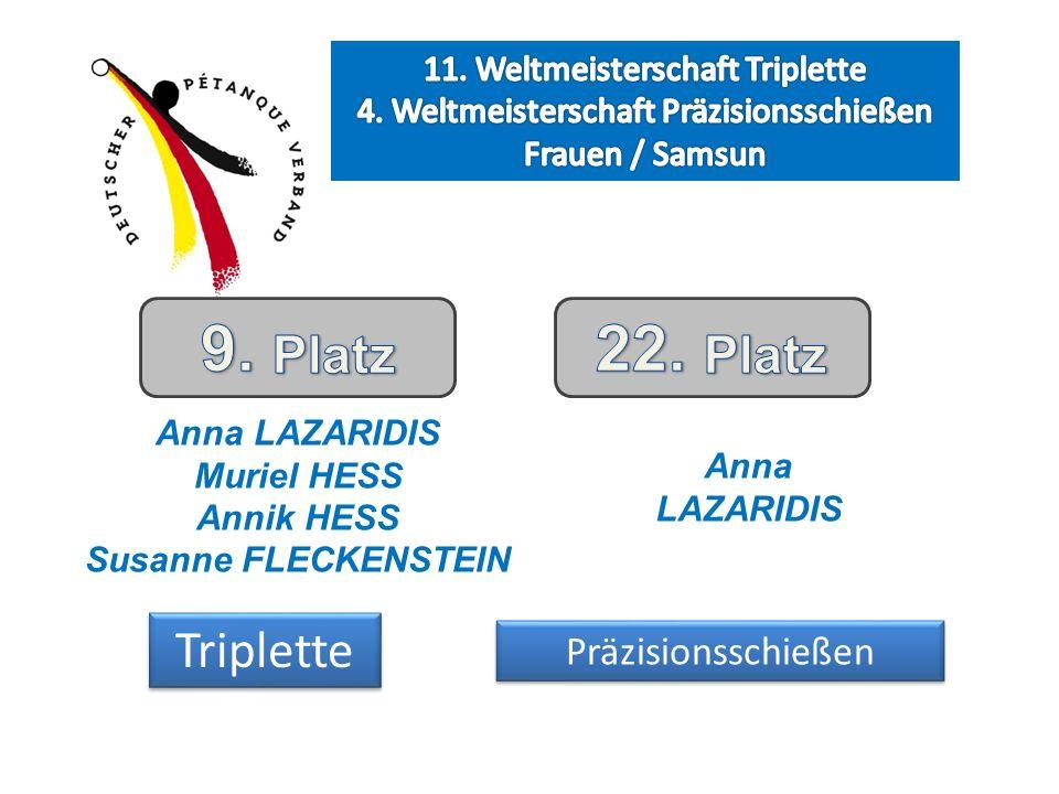 Anna LAZARIDIS Muriel HESS Annik HESS Susanne FLECKENSTEIN Anna LAZARIDIS Triplette Präzisionsschießen
