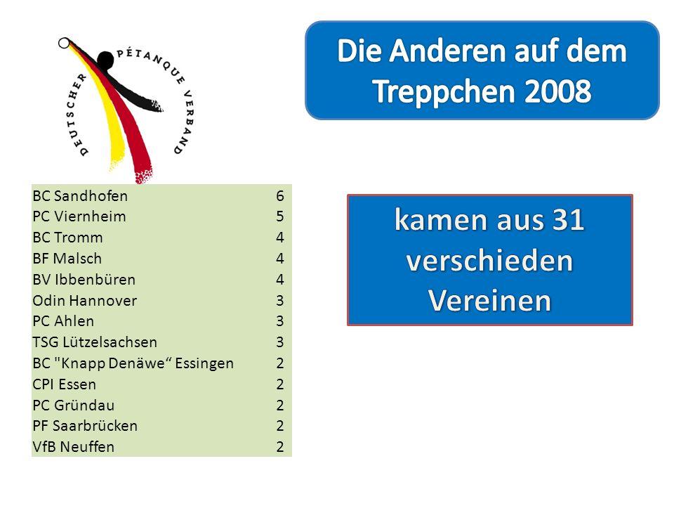 BC Sandhofen6 PC Viernheim5 BC Tromm4 BF Malsch4 BV Ibbenbüren4 Odin Hannover3 PC Ahlen3 TSG Lützelsachsen3 BC