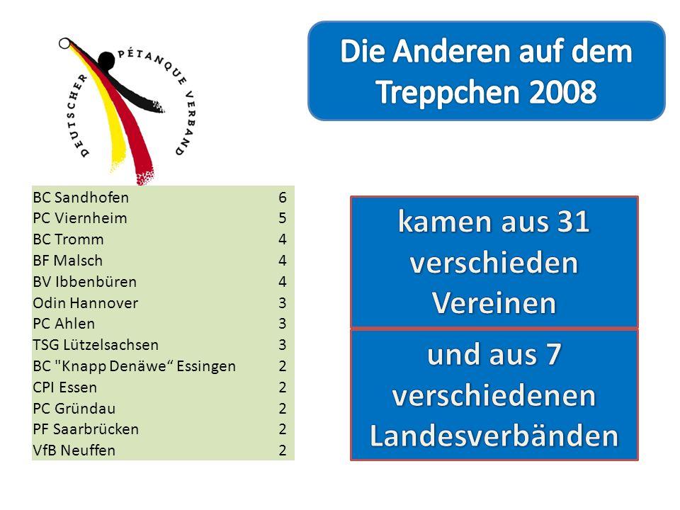 Baden-Württemberg20 Nordrhein-Westfalen16 Hessen14 Niedersachsen6 Rheinland-Pfalz4 Saarland4 Bayern1 BC Sandhofen6 PC Viernheim5 BC Tromm4 BF Malsch4